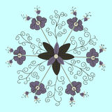 Floral pattern on blue background Royalty Free Stock Photos