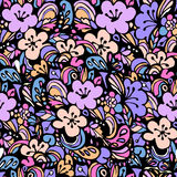 Floral pattern blue. Beautiful seamless floral pattern, flower vector illustration. Elegance wallpaper with of pink roses on floral background Royalty Free Stock Photo
