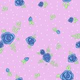 Floral pattern with blue rose vector illustration