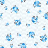 Floral pattern with blue roses Stock Photos