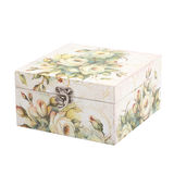 Floral pattern box decorated with decoupage paper Stock Image