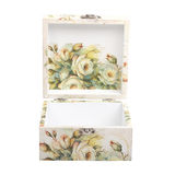 Floral pattern box decorated with decoupage paper Stock Photography