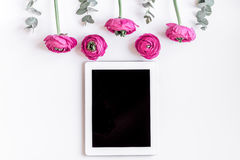 Floral pattern with bright flower on white background top view mockup Royalty Free Stock Image