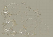 Floral pattern with butterflies and spirals on a beige background. Abstract beige background collected from  with the decor of floral pattern with butterflies Royalty Free Stock Photo