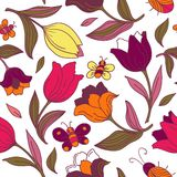 Floral pattern with butterflies and tulips. Stock Photos