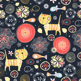 Floral pattern of the cats and fish. Seamless floral pattern of bright orange cats and fish on a dark background Royalty Free Stock Photo