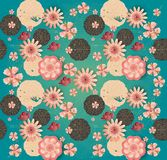 Floral Pattern Chinese New Year Traditional Spring Garden Flowers Blossom Sakuras Royalty Free Stock Images