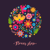 Floral pattern in a circle Mexican ethnic motive. Stock Photography