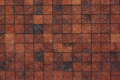 Floral pattern clay brick wall Stock Photography