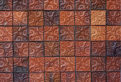 Floral pattern clay brick wall Royalty Free Stock Photos