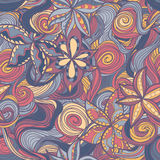 Floral pattern with colorful  blooming flowers and waves Royalty Free Stock Image
