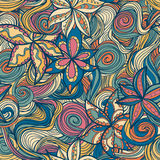 Floral pattern with colorful  blooming flowers and waves Stock Photo