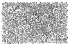 Floral pattern for coloring book. Retro, doodle, , design element. Black and white background. zentangle. Original line art (zentangle style Royalty Free Stock Photos