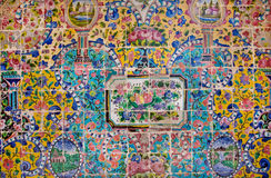 Floral pattern on a crumbling tile of beautiful persian Golestan Palace Royalty Free Stock Photo