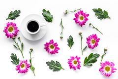 Floral pattern with cup of coffee on white background top view Stock Image