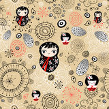 Floral pattern with dolls. Seamless floral graphic pattern with dolls on a brown background Royalty Free Stock Images