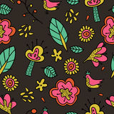 Floral pattern in doodle style Stock Photography