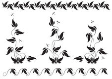 Floral pattern and dragonflies Stock Photo