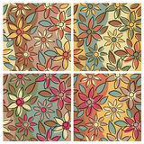 Floral Pattern_Earthy. A seamless, repeating free-form floral pattern in four earthy colorways Stock Image