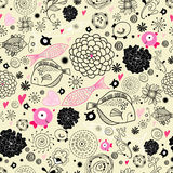 Floral pattern with the fishes. Seamless floral pattern with black fish on the bright yellow decorative background Royalty Free Stock Images