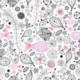 Floral pattern with the fishes. Seamless black and pink design with natural fish on a white background Royalty Free Stock Images