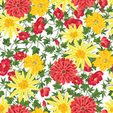 Floral pattern Flourish seamless background  with summer flowers Royalty Free Stock Photo