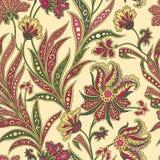 Floral seamless pattern. Flourish oriental ethnic background. Floral pattern. Flourish tiled oriental ethnic background. Arabic ornament with fantastic flowers Royalty Free Stock Photo