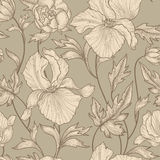 Floral pattern. Flower background. Floral ornamental engraving with iris flowers. Spring flourish garden. Floral seamless etching pattern. Flower background vector illustration