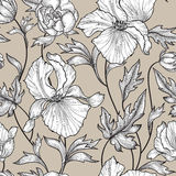 Floral pattern. Flower background. Floral ornamental engraving with iris flowers. Spring flourish garden Stock Image