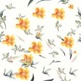 Floral pattern with flowers and foliage stock illustration