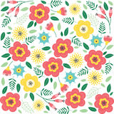 Floral pattern with flowers and leaves. Cute pattern with small flowers. Vector illustration Royalty Free Stock Photo