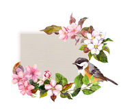 Floral pattern with flowers and pretty bird for vintage design. Watercolor for retro card Royalty Free Stock Photography