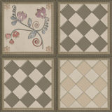 Floral pattern with flowers tile background glass effect Stock Images