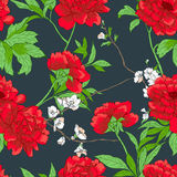 Floral pattern with flowers. Vector seamless floral pattern with flowers, branches and leaves Royalty Free Stock Image