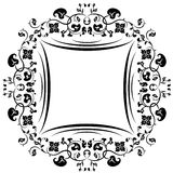 Floral pattern frame. Black and white Royalty Free Stock Photography