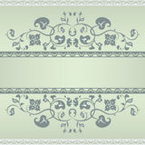 Floral pattern frame. Green and Grey Royalty Free Stock Image