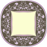Floral pattern frame. Round. Brown and lilac Stock Photography