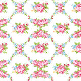 Floral pattern with garden pink roses Stock Photo