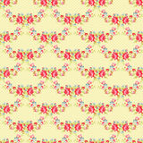 Floral pattern with garden pink roses. Seamless Pattern with red roses on a background with red polka dots stock illustration