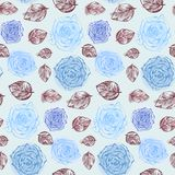 Floral pattern with gentle blue roses and leaves stock illustration