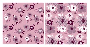 Floral pattern with geometric texture Stock Photo