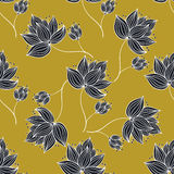 Floral Pattern Gold And Black. Seamless pattern made from hand drawn flowers. Vector illustration Stock Images