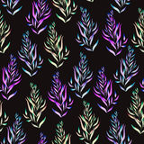 Floral pattern with the green, brown, bright purple and blue watercolor plants, seaweeds Stock Images
