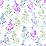 A floral pattern with the green, brown, bright purple and blue watercolor plants, seaweeds Stock Photo