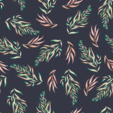 A floral pattern with the green, brown and pink watercolor plants, the seaweeds Royalty Free Stock Photo