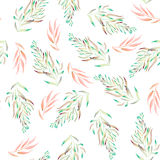 Floral pattern with the green, brown and pink watercolor plants, seaweeds Royalty Free Stock Photos