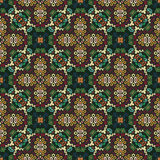 Floral Pattern Green Brown Weave Elements Stock Images