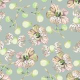Floral pattern in green colors. Design of style flowers, textile and fabric vector illustration