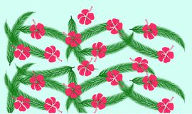 Floral pattern with green palm leaves and red hibiscus flowers on blue background Royalty Free Stock Photo