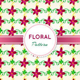 Floral pattern. With green, swirls and pink flowers Stock Image
